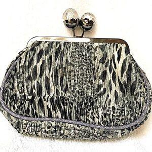 Lisbeth Dahl Silver Silky Animal Print Clutch